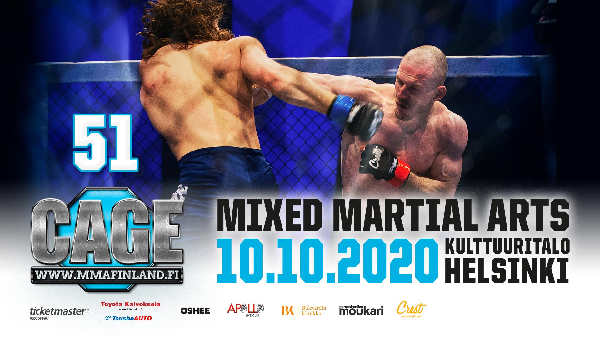 CAGE 51 MMA Kulttuuritalo 10.10.2020   MMA Finland Oy